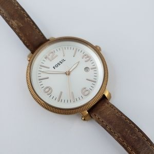 Fossil Statement Watch Brown Leather Rose Gold
